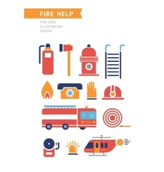 Fire Help Conceptual Icons Set vector image