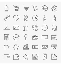 Line Online Shopping and Commerce Icons Big Set vector image