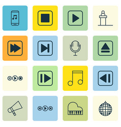 set of 16 multimedia icons includes following vector image vector image