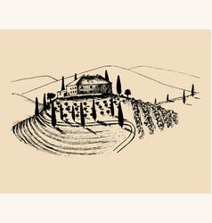 sketch of villa peasants house in fields vector image