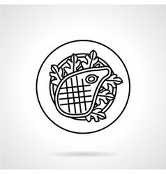 Steak black line icon vector image