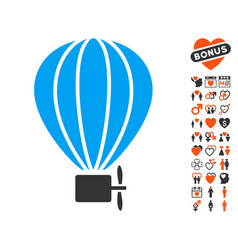 Aerostat balloon icon with love bonus vector