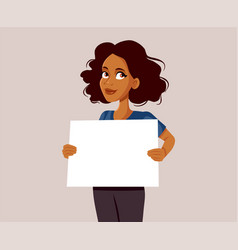 African woman holding blank advertising board vector