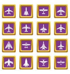airplane top view icons set purple square vector image