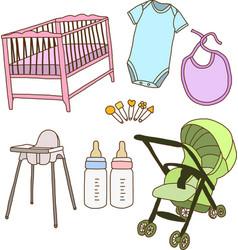 Baby accessories vector image