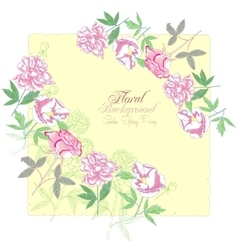 Background with flowers peonies and pink rose-04 vector