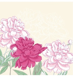 Background with pink peony vector