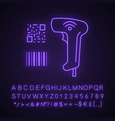 Barcode and qr code scanner neon light icon vector