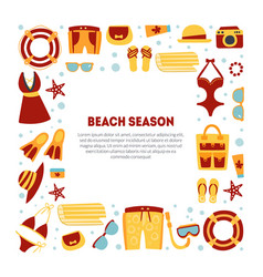 beach season banner template with summer travel vector image