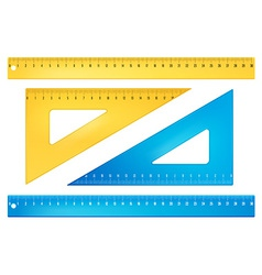 Blue and yellow rulers vector image