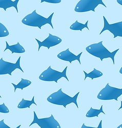 Blue shark seamless pattern vector