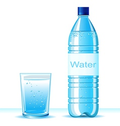 Bottle of clean water and glass vector