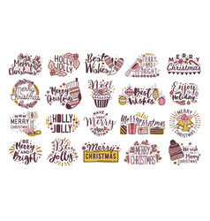 bundle of christmas written lettering decorated by vector image