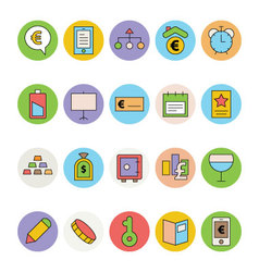 Business and Office Colored Icons 14 vector image