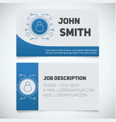 business card print template with user logo vector image