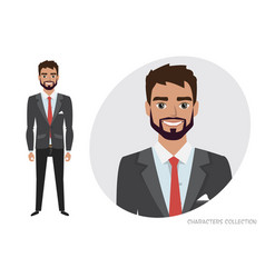 Businessman with beard in formal suit full length vector