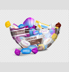 Candies bowl realistic transparent vector