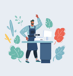 cashier behind counter vector image