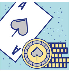 casino ace card chips fortune game image vector image