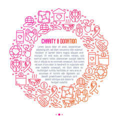 Charity and donation concept in circle vector