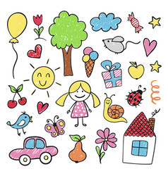children drawings in bright pencil and crayon vector image