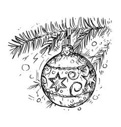 Christmas ball on the tree hand drawing vector