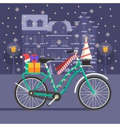 Christmas bike landscape vector