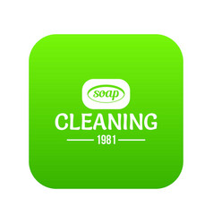 Cleaning soap icon green vector