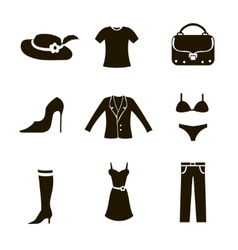Clothes icon set woman vector