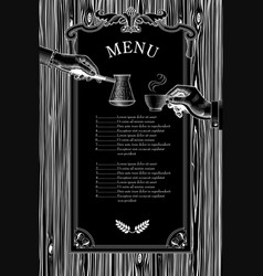 coffee menu hands with a coffee cup and arabic vector image