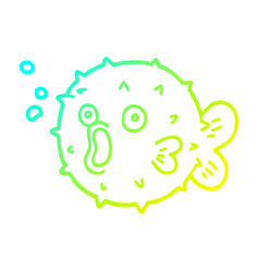 Cold gradient line drawing cartoon blow fish vector