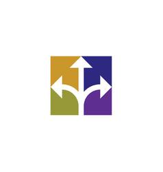 colorful three way arrows direction icon symbol vector image