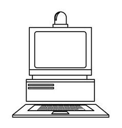 Computer laboratory equipment technology line vector