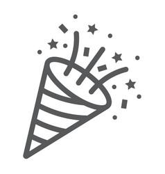 Confetti popper line icon party and decoration vector