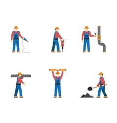 Construction worker people silhouettes icons flat vector image