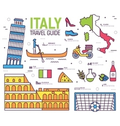 Country italy trip guide of goods places in thin vector