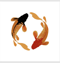 couple koi fish in realistic brush modern art vector image