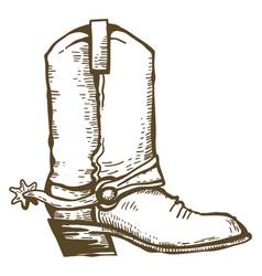 Cowboy boot vintage wild west clothes hand drawn vector