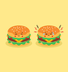 Cute burger with smiling and sad vector