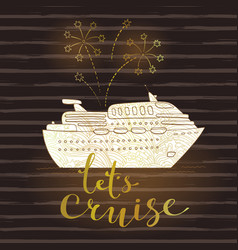 cute card with a cruise ship and fireworks vector image
