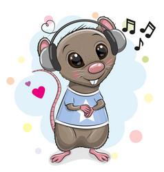 Cute cartoon rat with headphones vector
