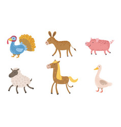 cute farm animals set turkey sheep donkey pig vector image