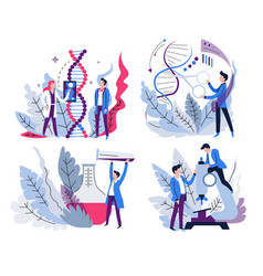 dna research genetics science and lab test vector image