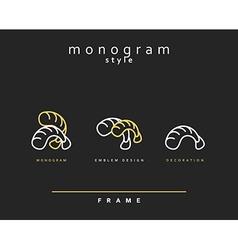 Emblem for restaurant and sushi bar Monogram vector