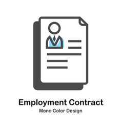 Employment contract mono color vector
