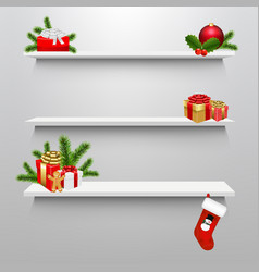 empty shelves with christmas gift box vector image