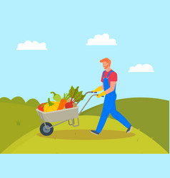 Farming man with trolley loaded with pumpkins vector