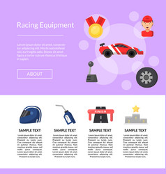 flat car racing icons page template vector image