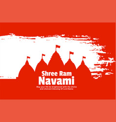 Flat style shree ram navami festival card with vector