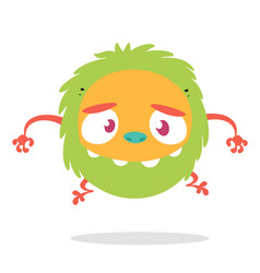 Funny cartoon of scary green monster vector